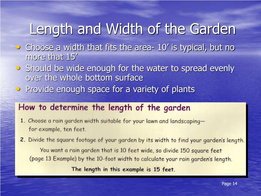 Length and Width of the Garden