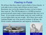 floating in fluids