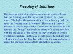 freezing of solutions