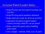 assistant patrol leader duties
