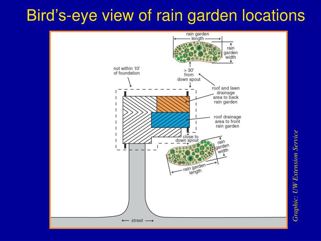 Bird's-eye view of rain garden locations
