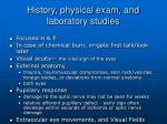 history physical exam and laboratory studies