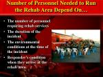number of personnel needed to run the rehab area depend on
