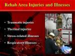 rehab area injuries and illnesses