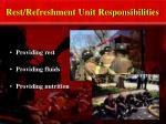 rest refreshment unit responsibilities