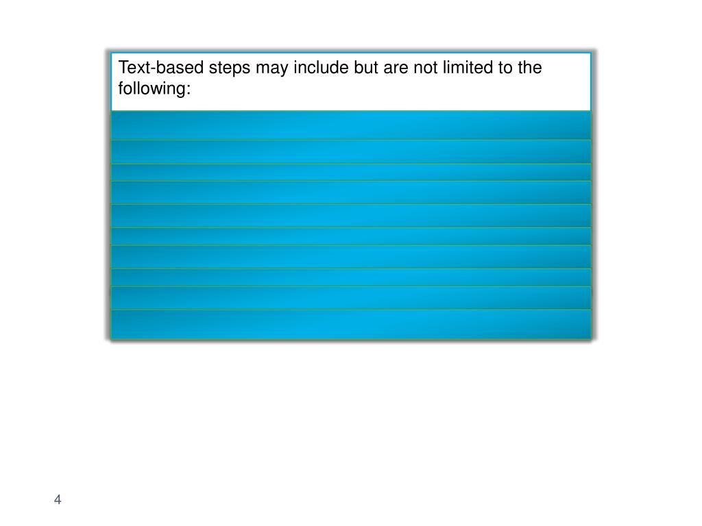 Text-based steps may include but are not limited to the following: