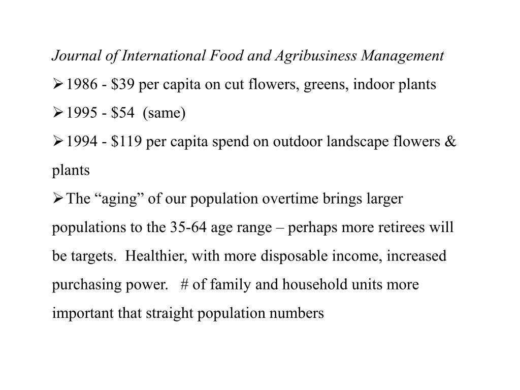 Journal of International Food and Agribusiness Management