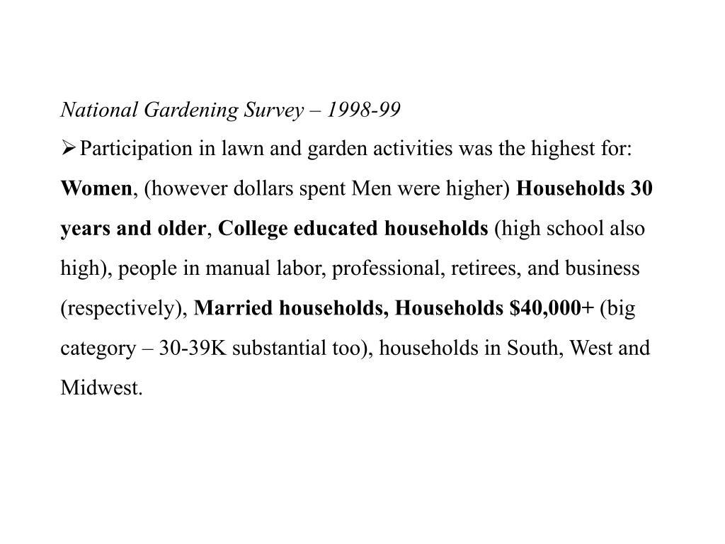 National Gardening Survey – 1998-99