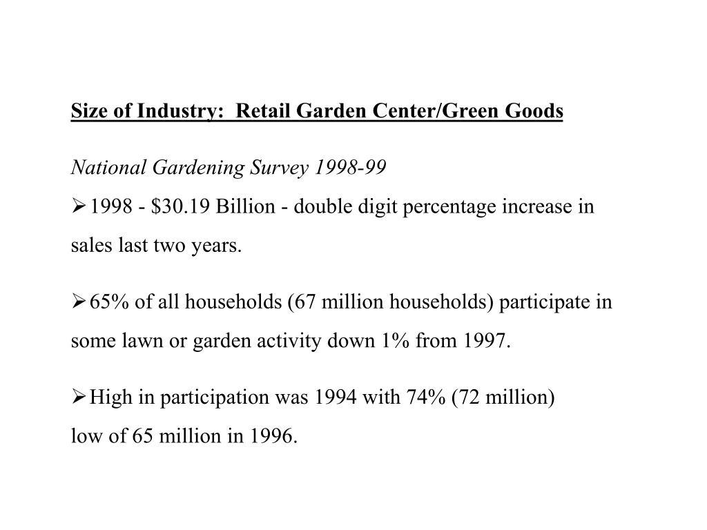 Size of Industry:  Retail Garden Center/Green Goods