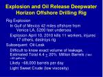 explosion and oil release deepwater horizon offshore drilling rig