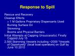 response to spill