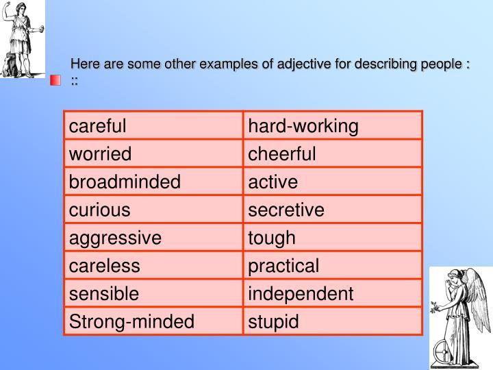 describing people examples