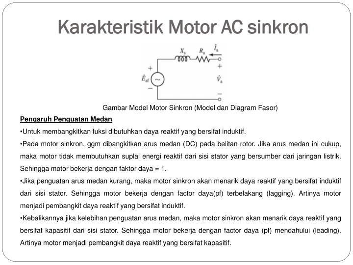 Ppt motor ac sinkron powerpoint presentation id217933 karakteristik motor ac sinkron ccuart Gallery