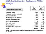 abc quality function deployment qfd analysis