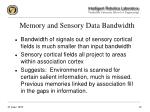 memory and sensory data bandwidth