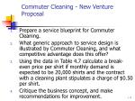 commuter cleaning new venture proposal