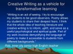 creative writing as a vehicle for transformative learning