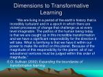 dimensions to transformative learning