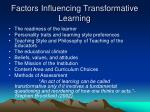 factors influencing transformative learning