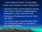 international texts encourage voice and choice in the classroom