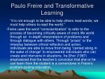 paulo freire and transformative learning