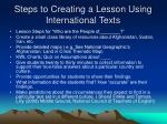 steps to creating a lesson using international texts