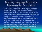 teaching language arts from a transformative perspective