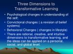 three dimensions to transformative learning