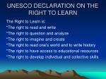 unesco declaration on the right to learn