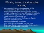 working toward transformative learning