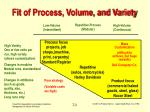 fit of process volume and variety