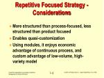 repetitive focused strategy considerations