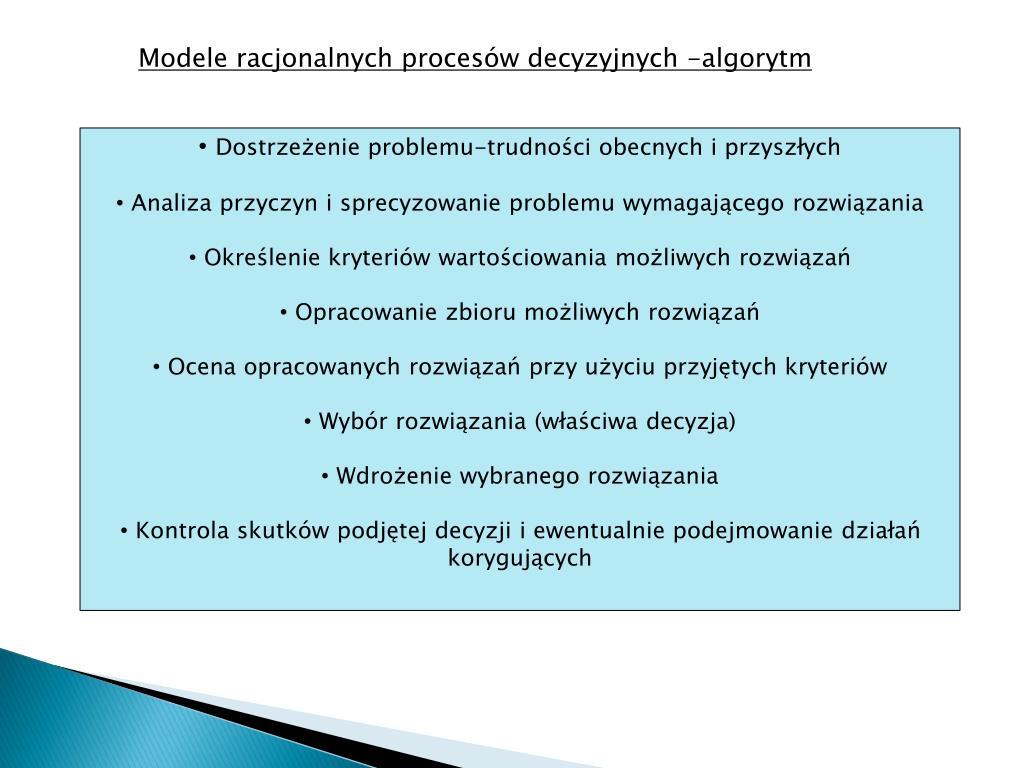 Modele racjonalnych procesów decyzyjnych -algorytm