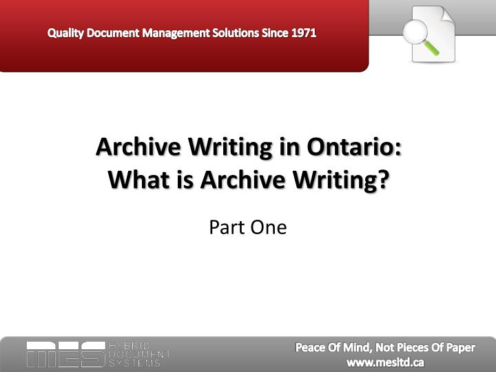 archive writing in ontario what is archive writing n.