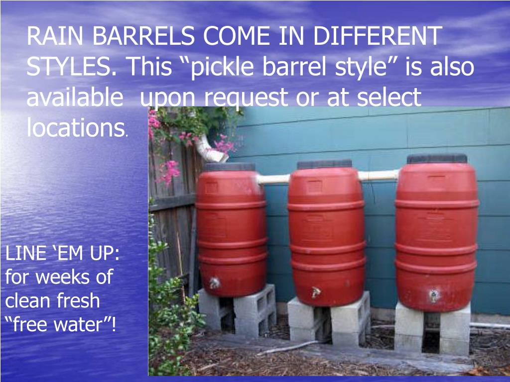 """RAIN BARRELS COME IN DIFFERENT STYLES. This """"pickle barrel style"""" is also available  upon request or at select locations"""