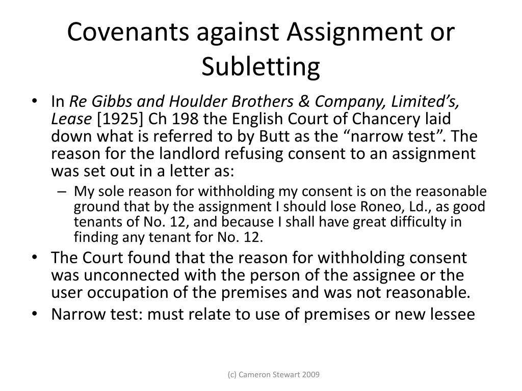 Covenants against Assignment or Subletting