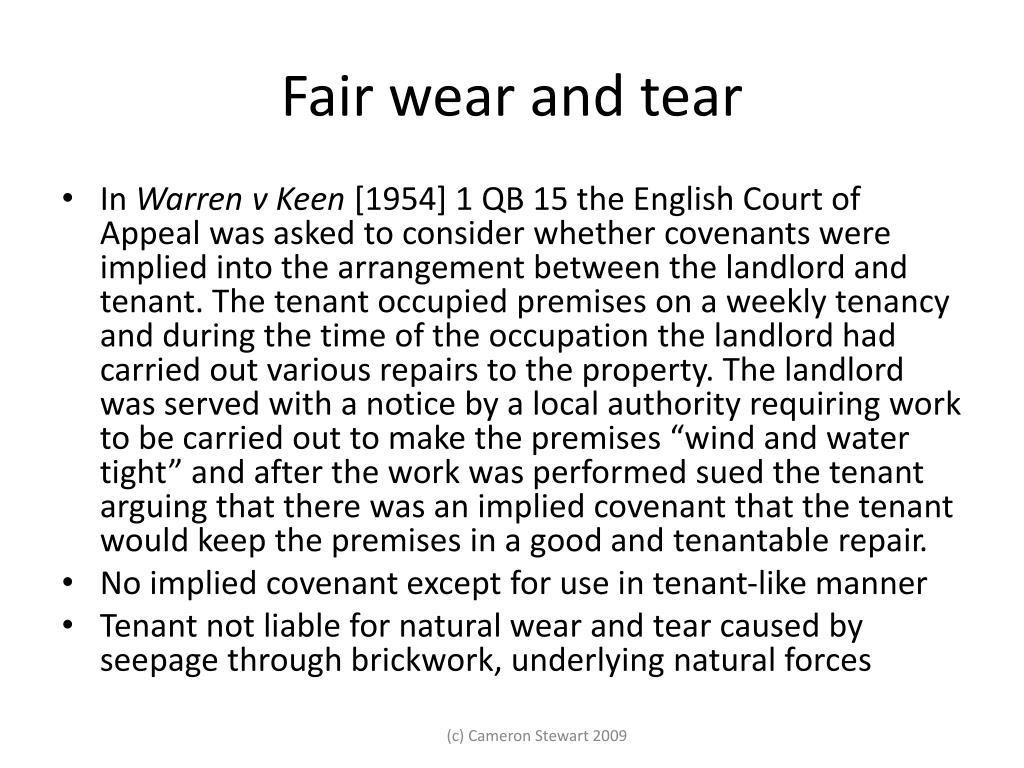 Fair wear and tear
