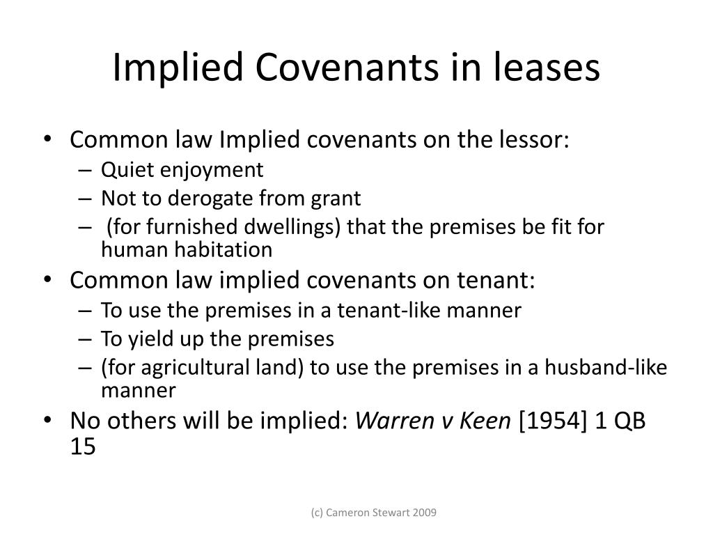 Implied Covenants in leases