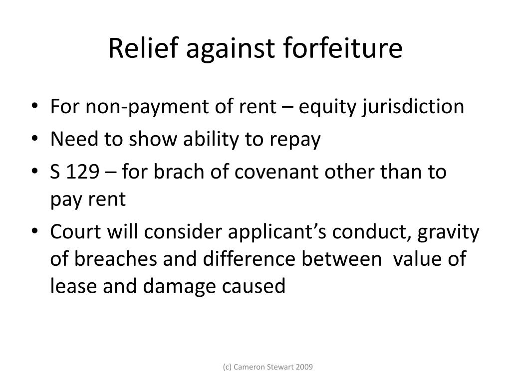 Relief against forfeiture
