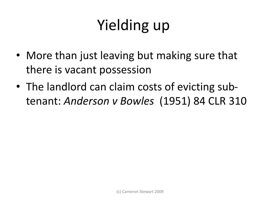 Yielding up