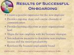 results of successful on boarding