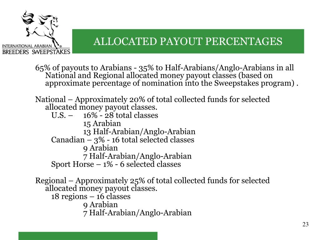 65% of payouts to Arabians - 35% to Half-Arabians/Anglo-Arabians in all National and Regional allocated money payout classes (based on approximate percentage of nomination into the Sweepstakes program) .