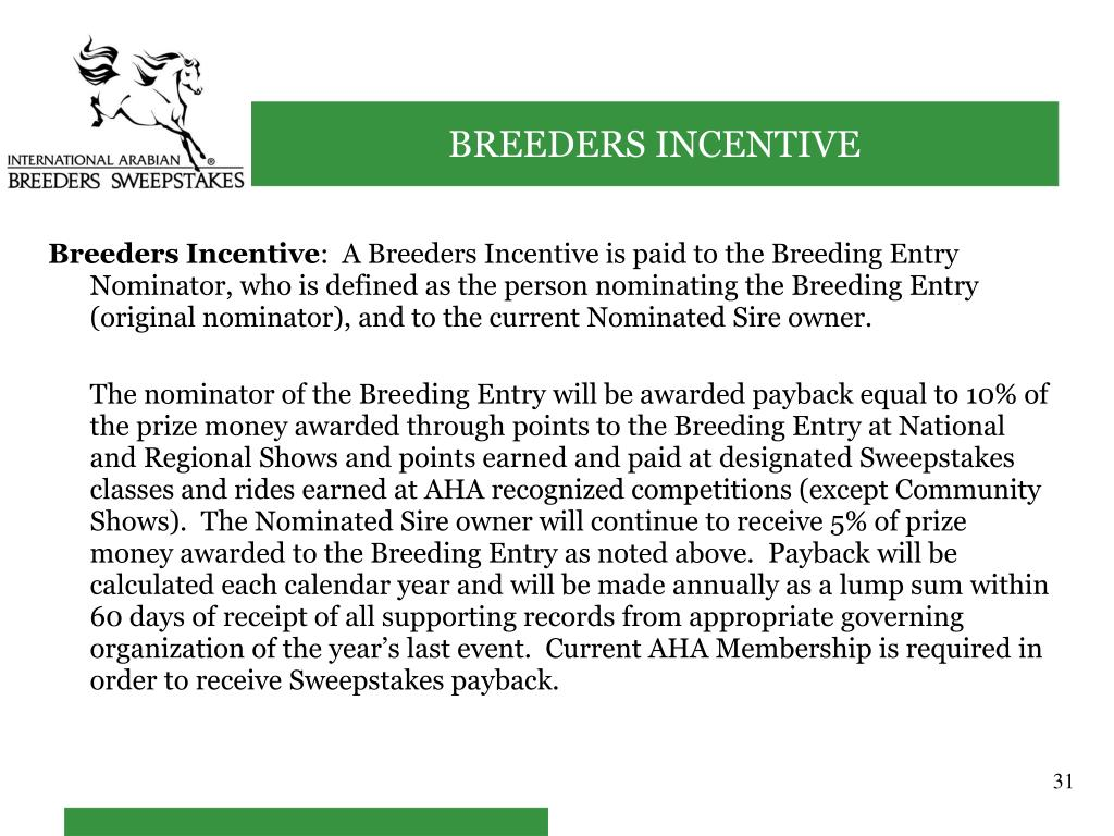 Breeders Incentive