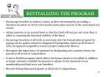 revitalizing the program