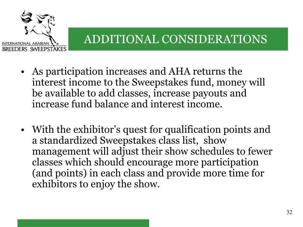As participation increases and AHA returns the interest income to the Sweepstakes fund, money will be available to add classes, increase payouts and increase fund balance and interest income.