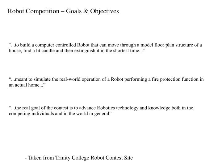 Robot competition goals objectives