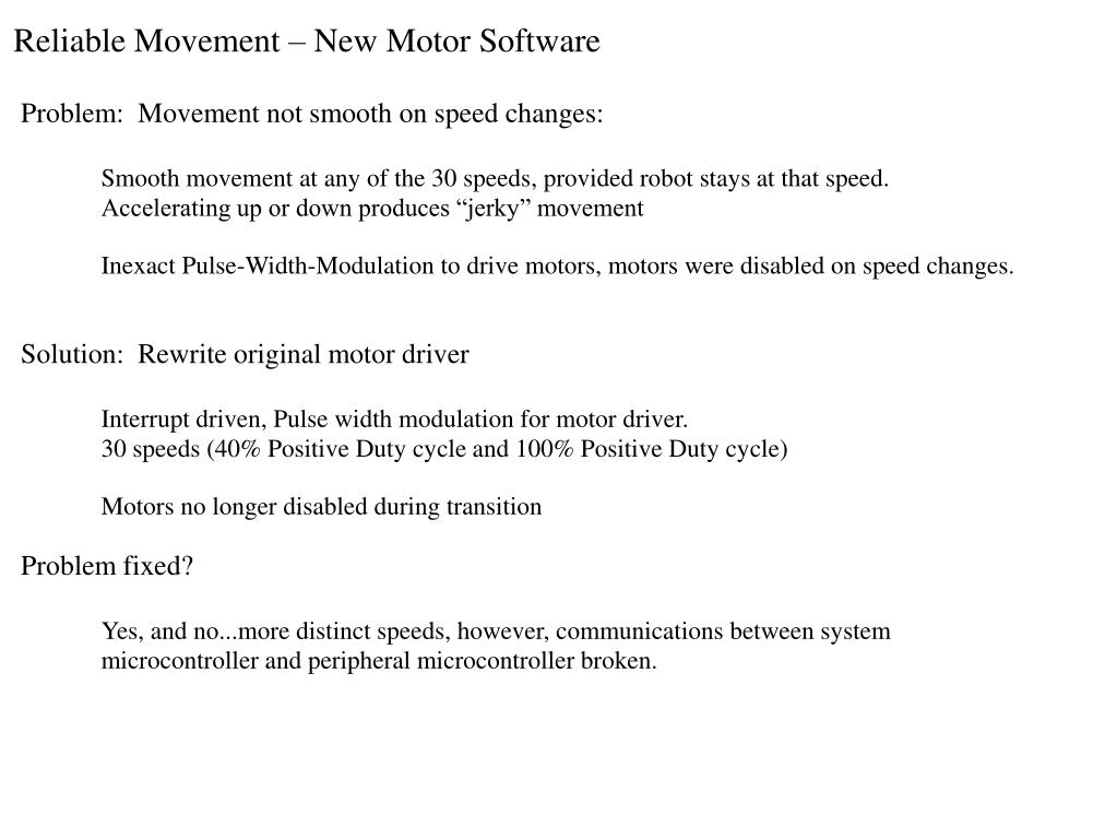 Reliable Movement – New Motor Software