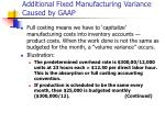 additional fixed manufacturing variance caused by gaap