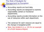 the role of budgets for management by exception