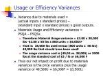 usage or efficiency variances